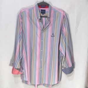 Vintage Faconnable reverse cuff striped shirt. M